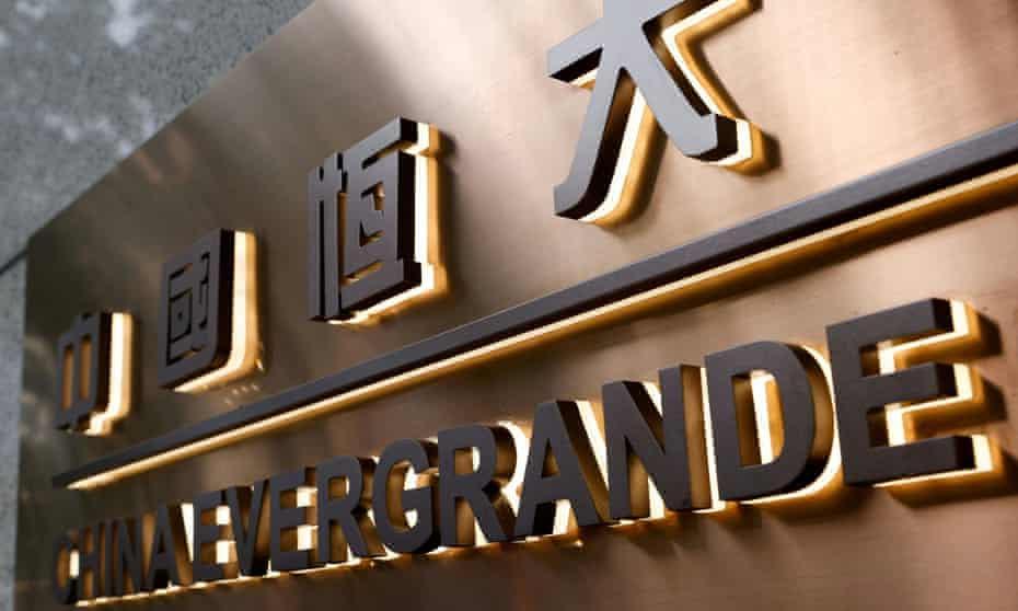A sharp drop in Evergrande shares in Hong Kong.