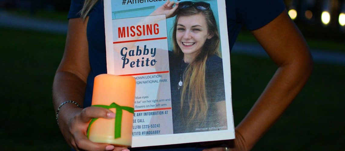 Gabby Petito was reported missing on September 11. Residents gathered Saturday night to support her family and those searching for the missing 22-year old North Port woman.  Petito Vigil5 (Photo by Photo by SAMANTHA GHOLAR WEIRES/USA Today Network/Sipa USA)/35131900//2109192304